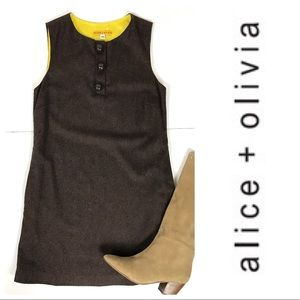 Alice + Olivia Wool Sleeveless Shift Dress Sz XS